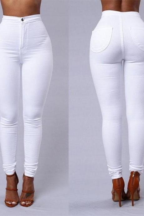 Women Pencil Pants Candy High Waist Casual Slim Female Stretch Skinny Trousers off white