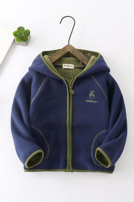 Kids Boys Girls Fleece Coat Long Sleeve Hooded Zipper Casual Warm Polar Fleece Jacket navy blue