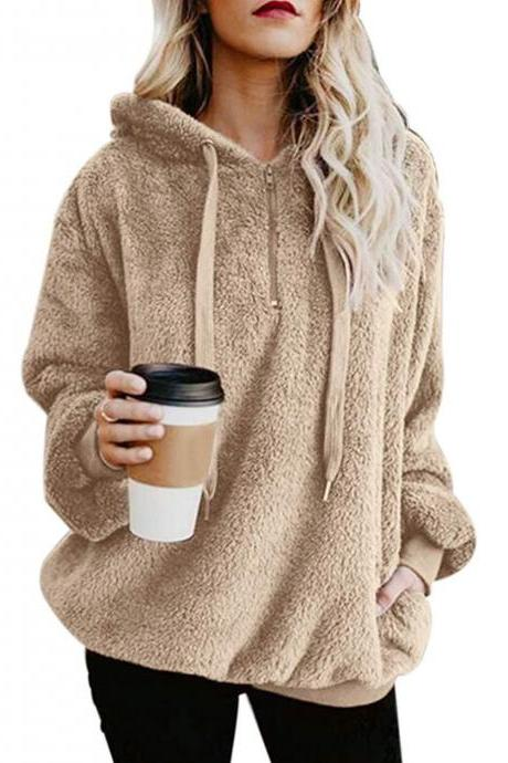 Women Fluffy Hoodies Autumn Winter Warm Casual Long Sleeve Hooded Plus Size Loose Sweatshirts khaki