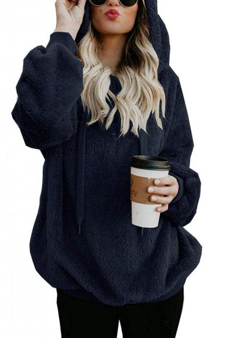 Women Fluffy Hoodies Autumn Winter Warm Casual Long Sleeve Hooded Plus Size Loose Sweatshirts navy blue