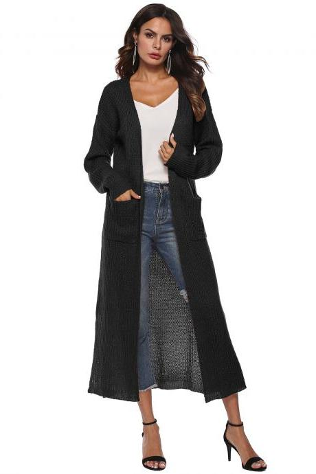 Women Long Sweater Cardigan Autumn Casual Long Sleeve Open Stitch Pockets Side Split Coat Jacket black