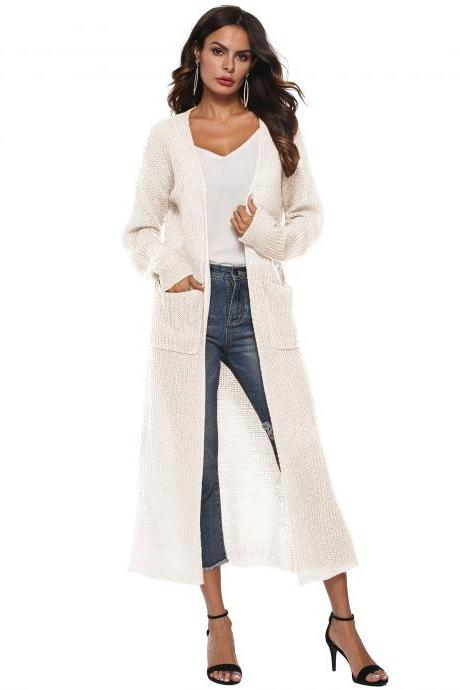 Women Long Sweater Cardigan Autumn Casual Long Sleeve Open Stitch Pockets Side Split Coat Jacket ivory