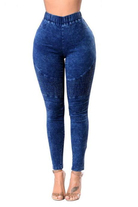 Women Denim Pencil Pants High Waist Stretch Skinny Casual Slim Jeans Trousers dark blue
