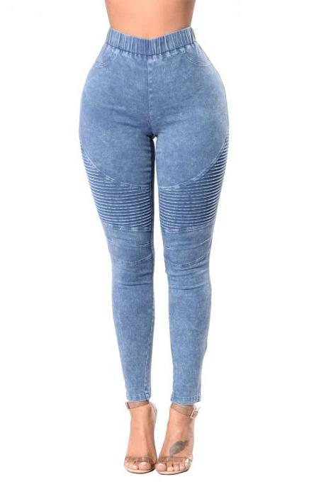 Women Denim Pencil Pants High Waist Stretch Skinny Casual Slim Jeans Trousers light blue