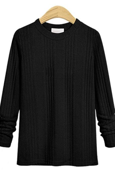 Plus Size Women Knitted Sweater Spring Autumn O Neck Long Sleeve Slim Pullover Tops black