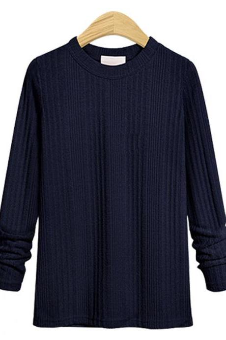 Plus Size Women Knitted Sweater Spring Autumn O Neck Long Sleeve Slim Pullover Tops navy blue