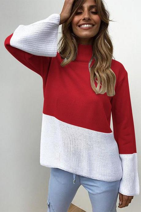 Women Knitted Sweater Autumn Winter Turtleneck Patchwork Casual Loose Long Flare Sleeve Pullover Tops red