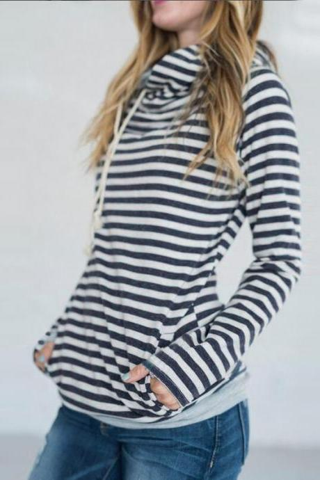 Women Striped Patchwork Hoodie Autumn Winter Casual Pullover Long Sleeve Pockets Hooded Sweatshirt 0608-blue