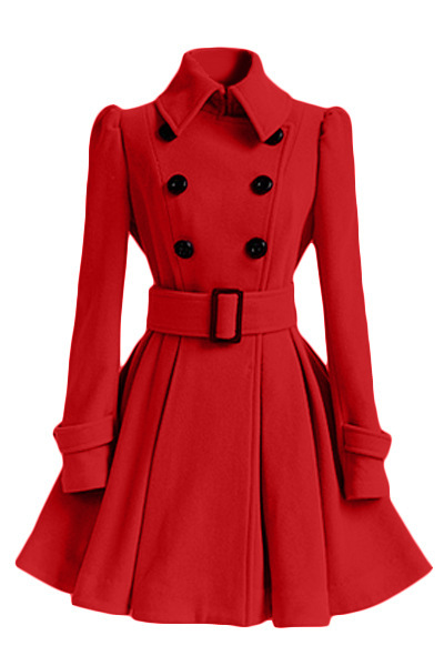 Winter Women Woolen Coat Casual Warm Female Double Breasted Slim Long Sleeve Thick Jacket red