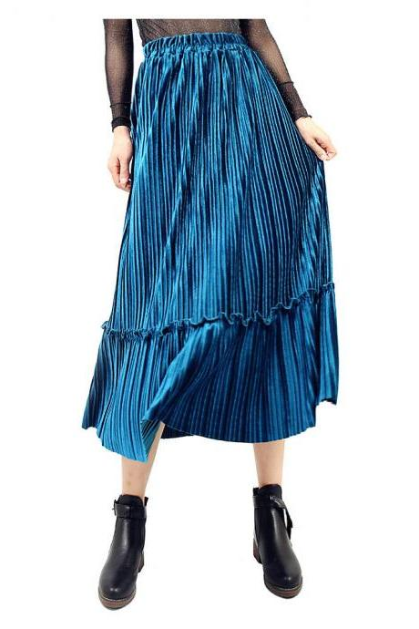 Women Velvet Pleated Skirt Autumn Winter Elastic High Waist Streetwear Below Knee Casual Midi Skirt blue