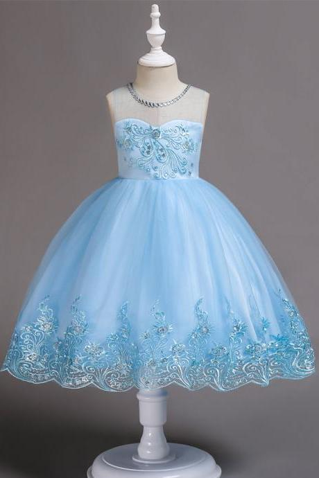 Embroidery Lace Flower Girl Dress Sleeveless Wedding Birthday Party Tutu Gown Children Clothes sky blue