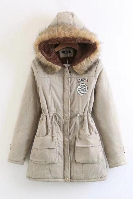 Winter Women Cotton Coat Parka Casual Military Hooded Thicken Warm Long Slim Female Jacket Outwear khaki