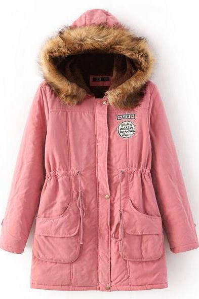 Winter Women Cotton Coat Parka Casual Military Hooded Thicken Warm Long Slim Female Jacket Outwear pink