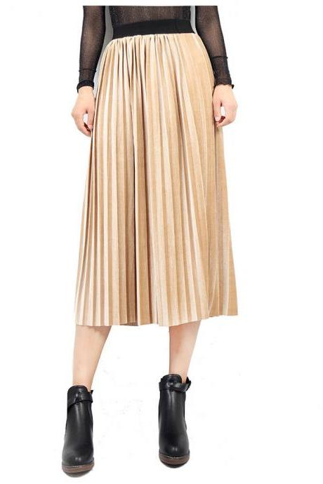 Women Velvet Pleated Skirt Autumn Winter Elastic High Waist Streetwear European Style Casual Midi Skirt apricot
