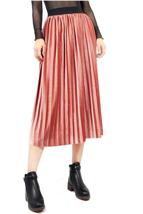 Women Velvet Pleated Skirt Autumn Winter Elastic High Waist Streetwear European Style Casual Midi Skirt pink