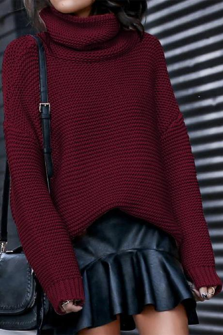 Women Knitted Sweater Autumn Winter Turtleneck Casual Loose Long Sleeve Warm Female Pullover Tops burgundy