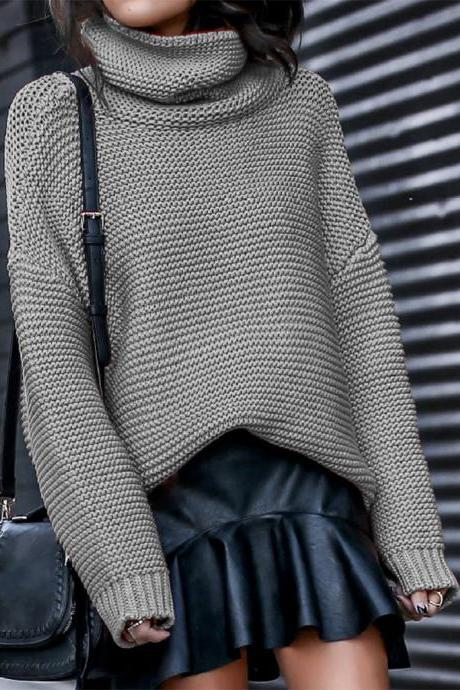 Women Knitted Sweater Autumn Winter Turtleneck Casual Loose Long Sleeve Warm Female Pullover Tops gray