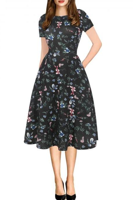 Women Floral Printed Slim Dress Vintage Short Sleeve Knee Length A-line Rockabilly Casual Party Dress 1#