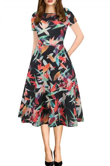 Women Floral Printed Slim Dress Vintage Short Sleeve Knee Length A-line Rockabilly Casual Party Dress 3#