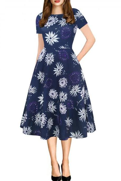Women Floral Printed Slim Dress Vintage Short Sleeve Knee Length A-line Rockabilly Casual Party Dress 7#