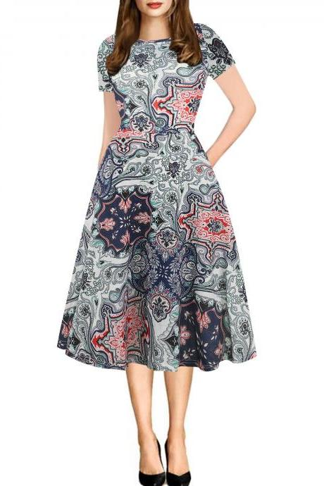 Women Floral Printed Slim Dress Vintage Short Sleeve Knee Length A-line Rockabilly Casual Party Dress 9#