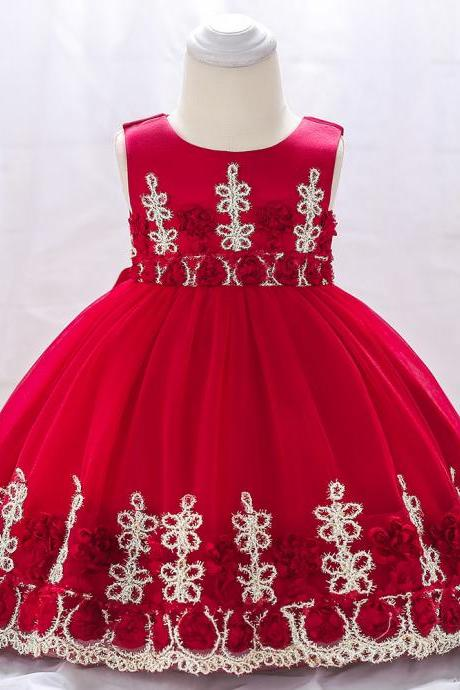 Newborn Baby Flower Girl Dress Floral Lace Baptism Birthday Party Ball Gown Children Clothes crimson