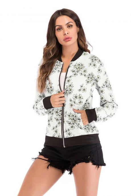 Women Baseball Uniform Coat Crane/Floral/Striped Printed Autumn Long Sleeve Zipper Casual Slim Jacket Outerwear 10#
