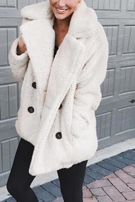 Women Faux Lambswool Coat Autumn Winter Double Breasted Pockets Suit Collar Long Sleeve Casual Loose Warm Jacket Outwear off white