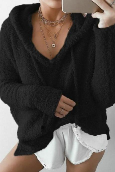 Women Fluffy Mohair Sweatshirt Autumn Warm Fleece Hoodies Drawstring V-Neck Hooded Long Sleeve Loose Pullover Tops black