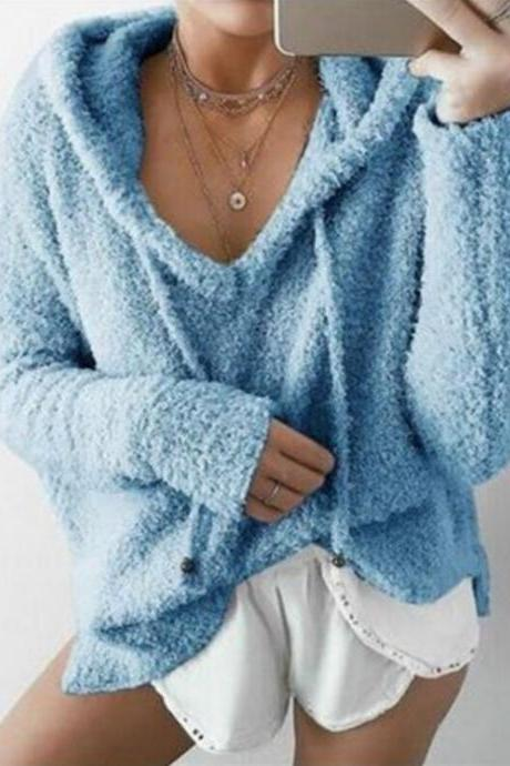 Women Fluffy Mohair Sweatshirt Autumn Warm Fleece Hoodies Drawstring V-Neck Hooded Long Sleeve Loose Pullover Tops sky blue