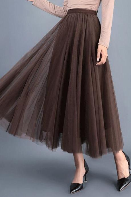 Women Long Tulle Mesh Skirt Elastic High Waist Streetwear Pleated Tutu A Line Maxi Skirt coffee