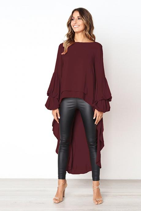 Women Asymmetrical Dress O-Neck Lantern Long Sleeve Ruffles Casual High Low Club Party Dress burgundy