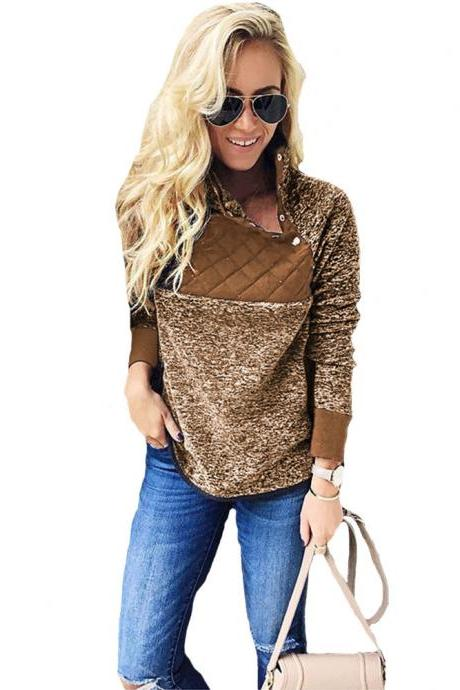 Women Sweatshirt Autumn Winter Covered Button Skew Collar Long Sleeve Casual Patchwork Warm Pullovers coffee
