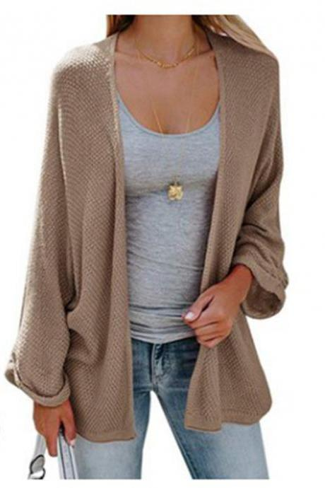 Women Knitted Cardigan Autumn Long Sleeve Solid Color Casual Loose Sweater Coat Jacket khaki