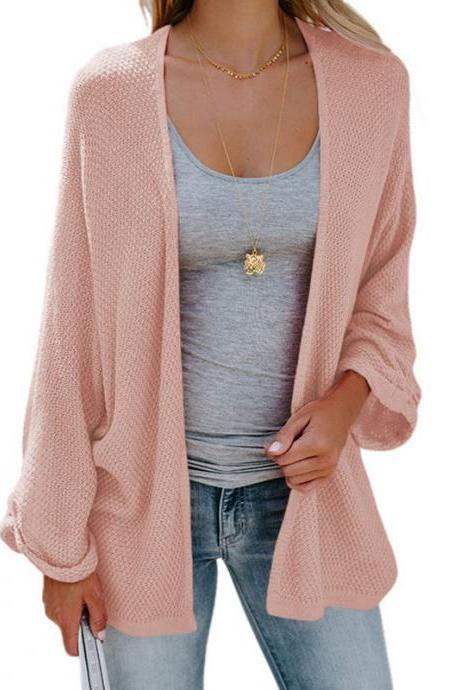 Women Knitted Cardigan Autumn Long Sleeve Solid Color Casual Loose Sweater Coat Jacket pink