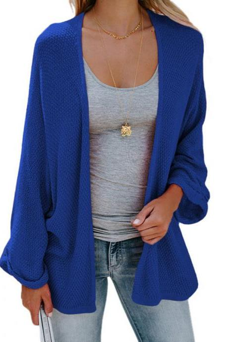 Women Knitted Cardigan Autumn Long Sleeve Solid Color Casual Loose Sweater Coat Jacket royal blue