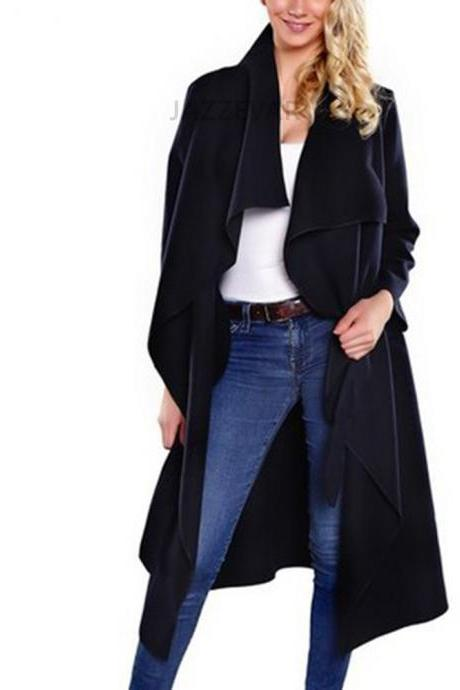 Women Wool Blend Trench Coat Autumn Winter Lapel Casual Long Sleeve Loose Cardigan Jacket Outerwear black
