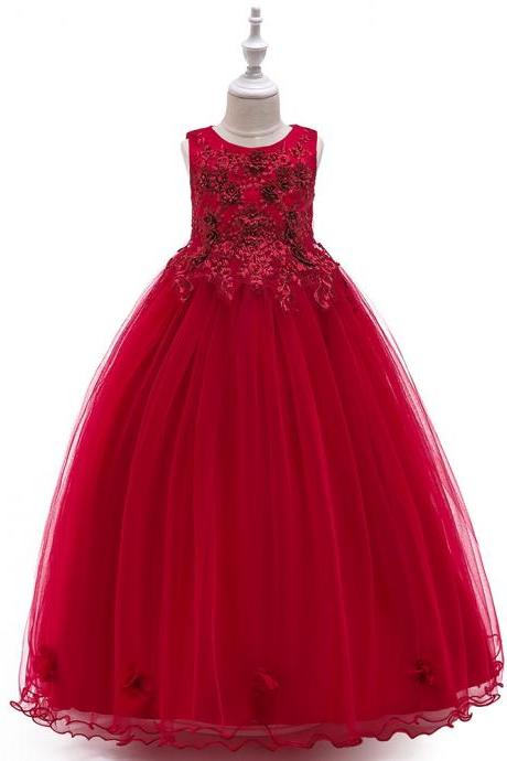 Long Flower Girl Dress Beaded Embroidery Princess Teens Formal Birthday Party Gowns Children Clothes crimson