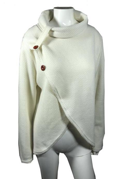 Women Pullover Autumn Turtleneck Long Sleeve Button Casual Loose Asymmetrical Cross Sweater Tops off white