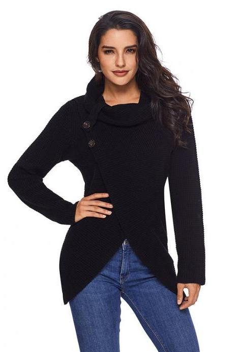 Women Pullover Autumn Turtleneck Long Sleeve Button Casual Loose Asymmetrical Cross Sweater Tops black
