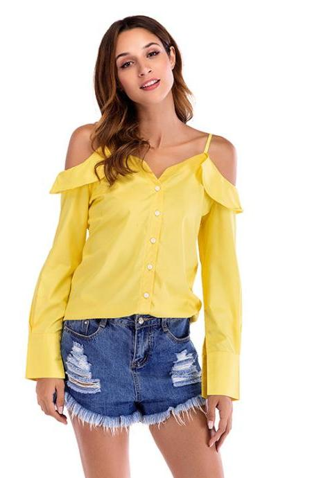 Women Blouse Long Lantern Sleeve Casual Streetwear Button V-Neck Off the Shoulder Tops Shirt yellow