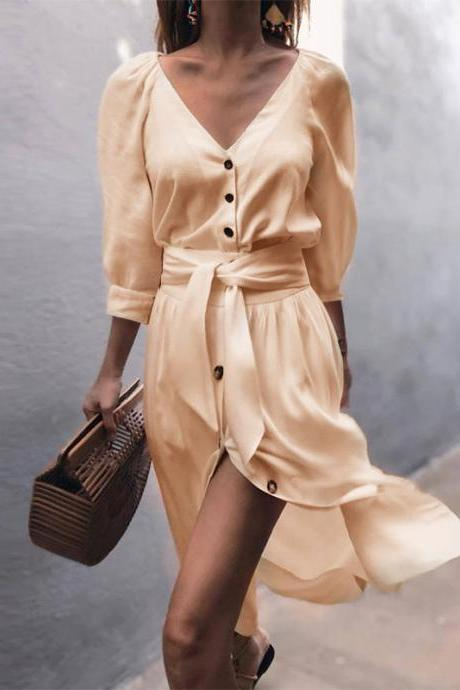 Women Casual Shirt Dress Autumn V Neck Half Sleeve Button Bow Tie Belted Front Splited Midi Dress apricot