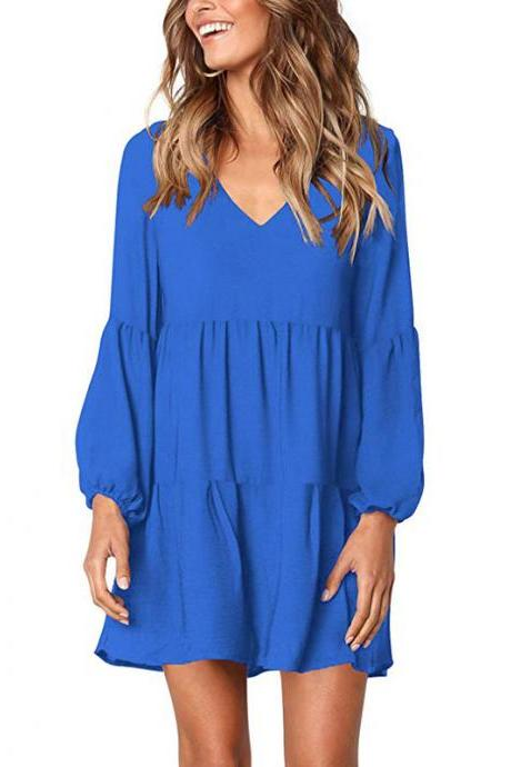 Women Casual Dress Autumn V Neck Long Lantern Sleeve Loose Streetwear Mini Club Party Dress blue