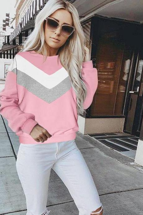 Women Sweatshirt Autumn Geometric Patchwork Long Sleeve Streetwear Casual Loose Pullovers Tops pink