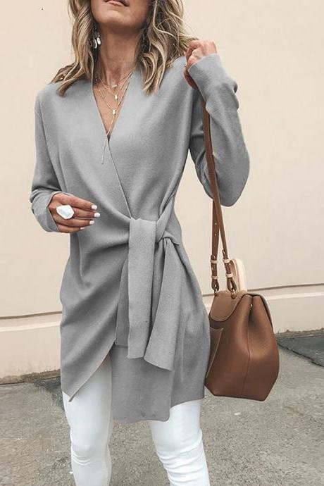 Women Slim Coat Autumn V Neck Casual Lace Up Tie Waist Long Sleeve Jacket Outwear gray