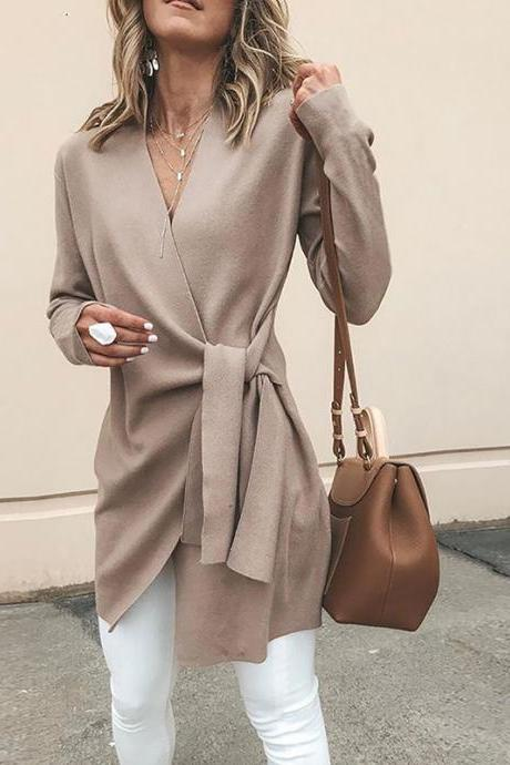 Women Slim Coat Autumn V Neck Casual Lace Up Tie Waist Long Sleeve Jacket Outwear khaki