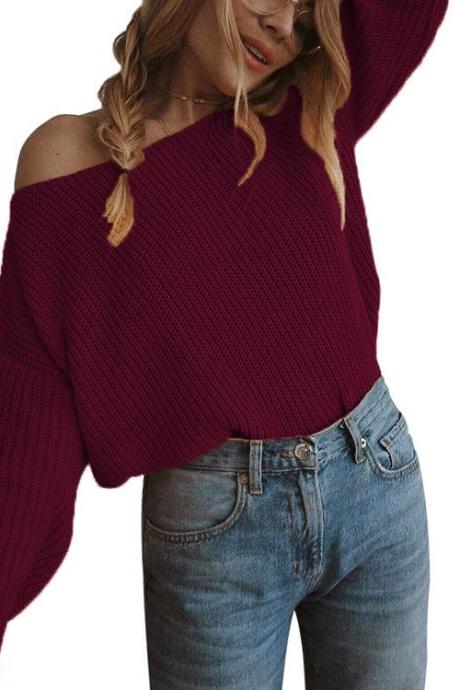 Women Knitted Sweater Autumn Slash Neck Off the Shoulder Long Sleeve Casual Loose Pullover Tops burgundy
