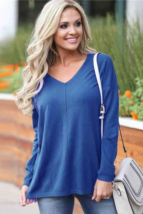 Women Knitted Sweater Solid V Neck Long Sleeve Autumn Casual Loose Pullover Tops royal blue