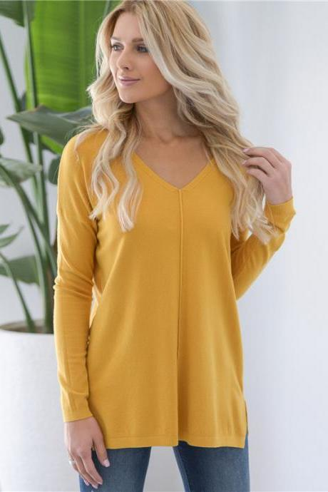 Women Knitted Sweater Solid V Neck Long Sleeve Autumn Casual Loose Pullover Tops yellow