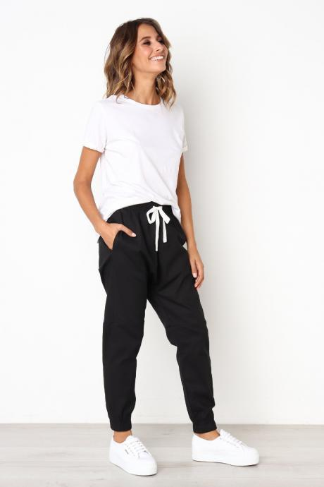 Womens Casual Harem Pants Drawstring Mid Waist Ankle Length Female Loose Trousers black